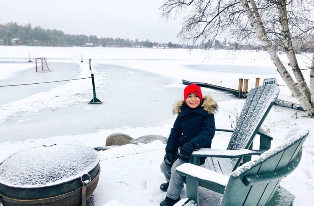 Enjoying the snow on Mirror Lake