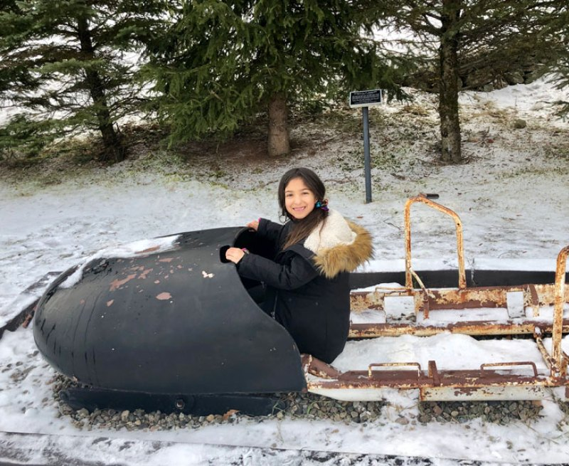 Trying out bobsledding