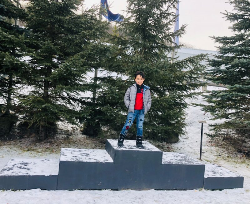 Standing on an Olympic podium