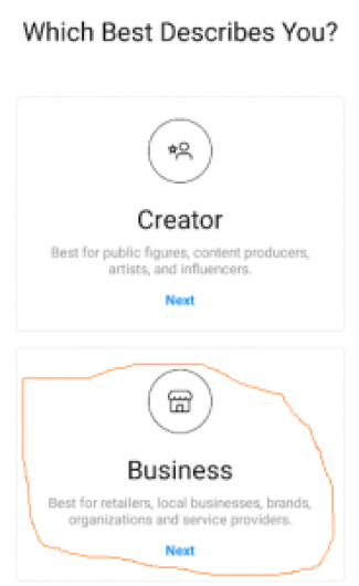 how to create Instagram business page