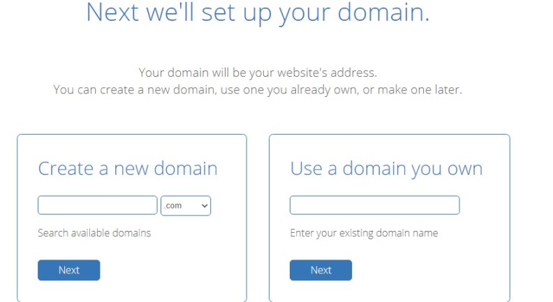 Bluehost domain section