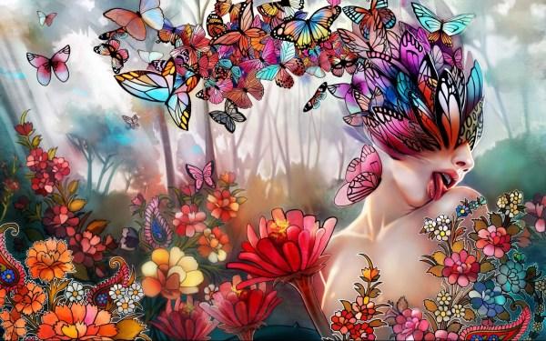 Psychedelic Art Butterfly Woman