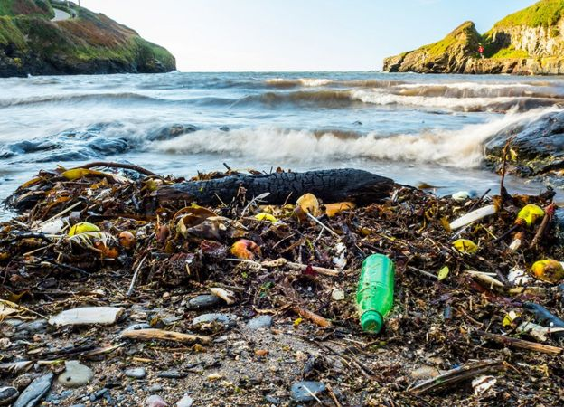 Beach plastic may be a very small fraction of the waste out there