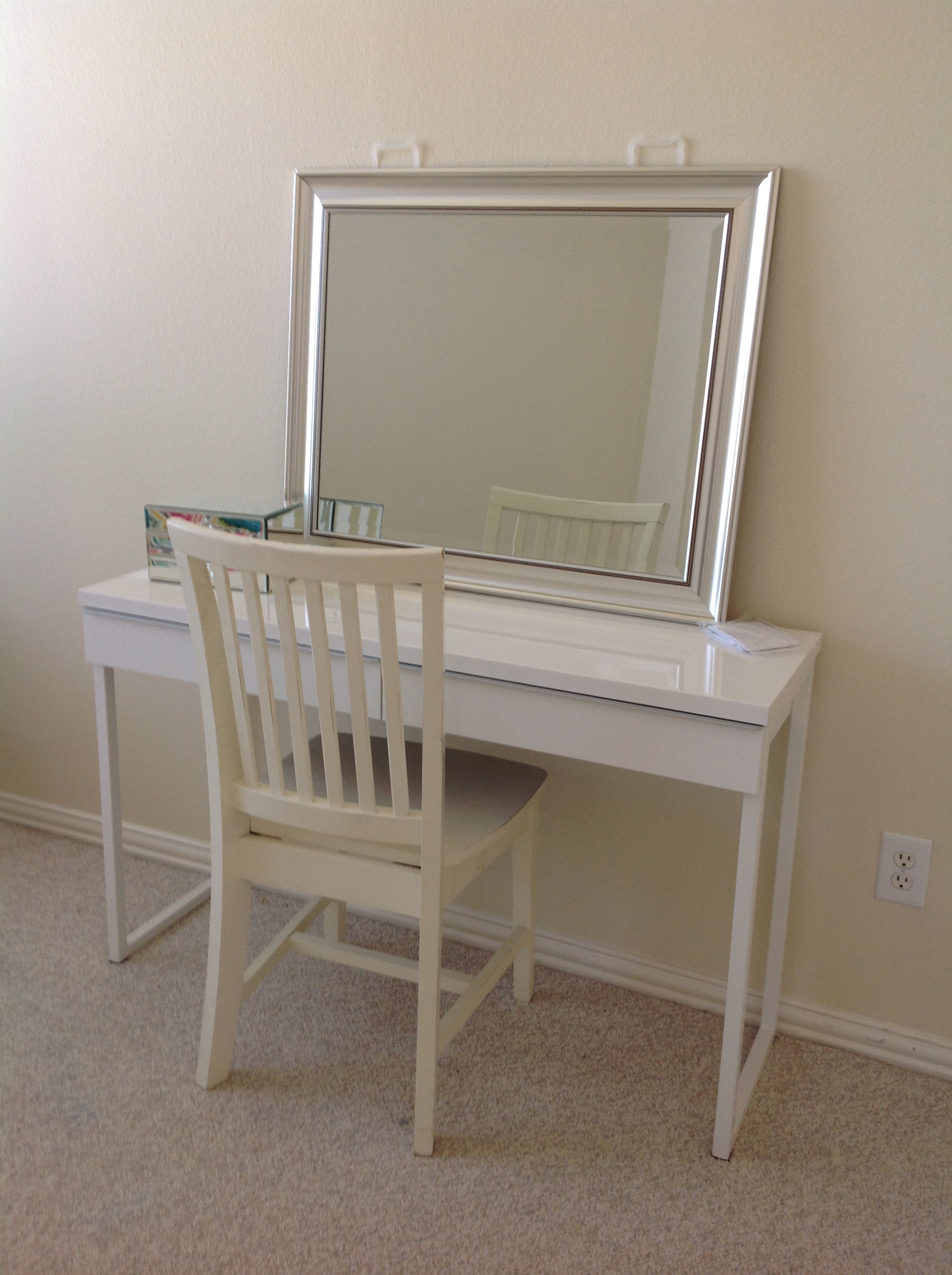 target white desk chair fishing bed covers while you were out we did a room makeover  ashley