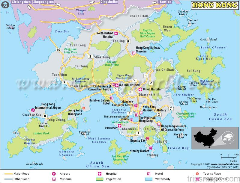 Map of Hong Kong - Hung Shing Ye Beach (Lamma Island) - Tripsmaps.com