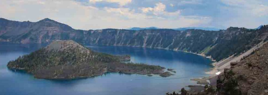 The blue lake is in a volcanic crater.