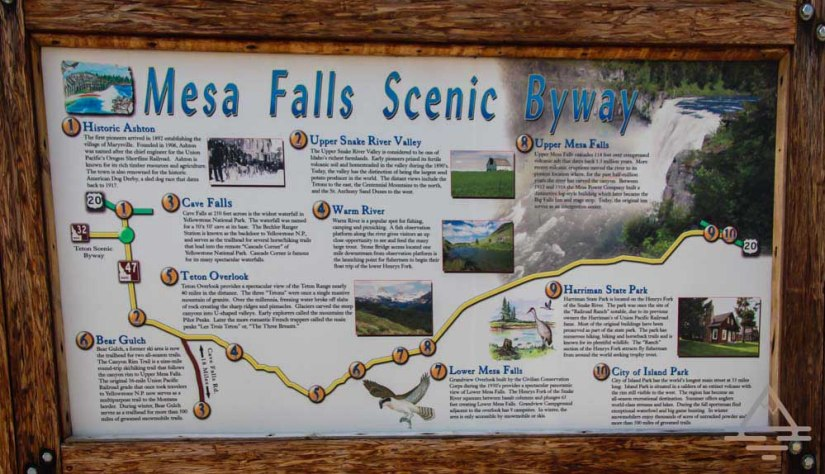 Mesa Falls Scenic Byway Sign in Idaho