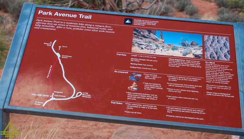 Park Avenue Trail Sign with Map
