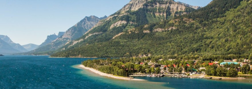 View of the Village of Waterton in Alberta, Canada.