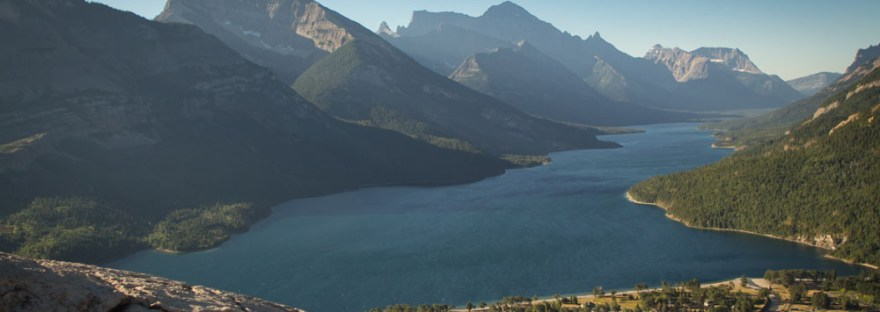 View of Waterton, Alberta from Bears Hump Trail