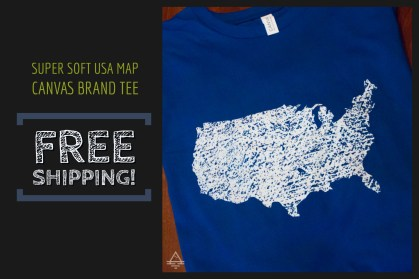 Royal Blue USA Map Tee