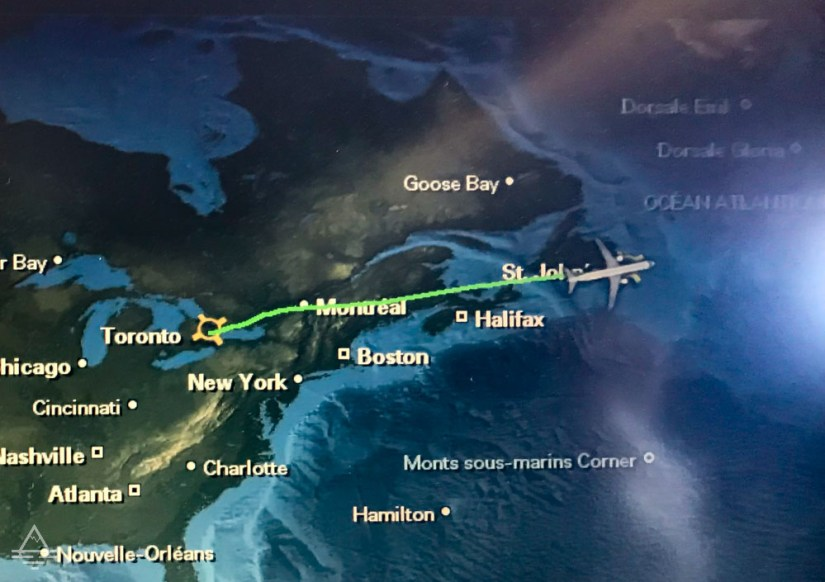Map with Flight from Toronto to St John's