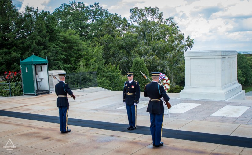Arlington Cemetery Changing of the Guards: 3 Guards in front of the tomb of the unknown soldier.