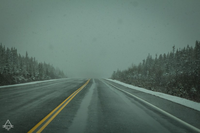 Snowing on the highway in Newfoundland