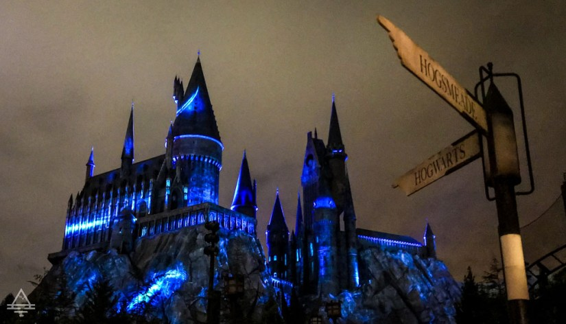 Hogwarts Castle at Night in Harry Potter World Orlando