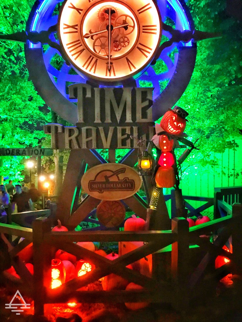 Silver Dollar City Pumpkin Nights Time Traveler Sign with Pumpkins