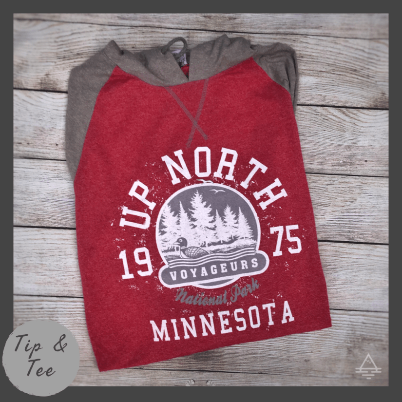 Red and Gray Voyageurs National Park Tee Shirt