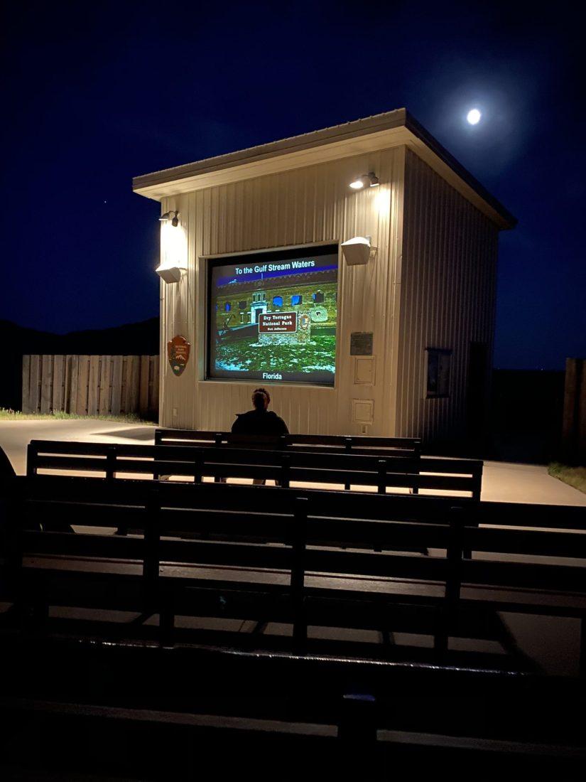 Screen in amphitheater