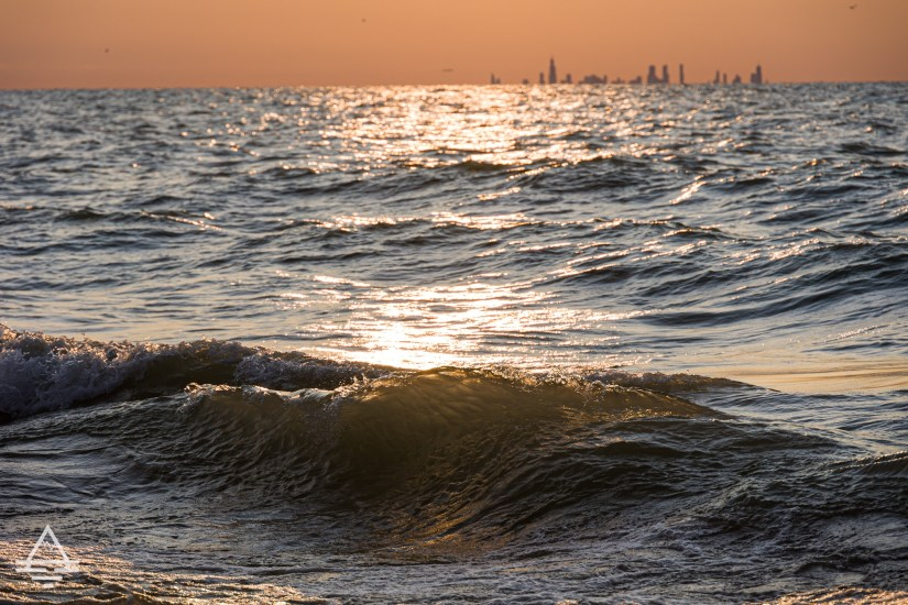 Lake Michigan and the Chicago Skyline at Sunset