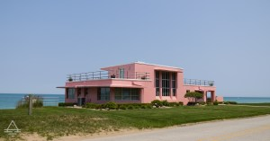 Pink Home on the Shore of Lake Michigan