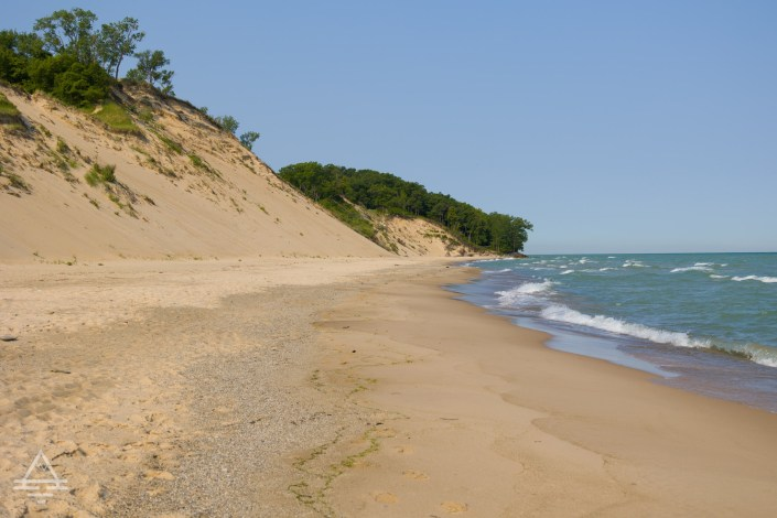 Empty beach with dune at Central Avenue Beach