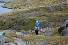 Grandma hiking Killary fjord
