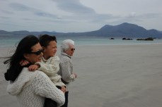 Susan, D, and Grandma on windblown beach, Renvyle