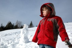 Hiking and snowman making, Postalm, Austria