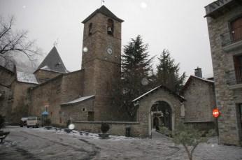 church, benasque in snow