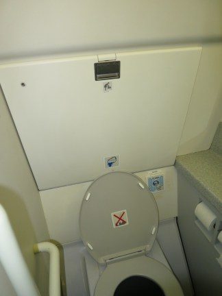 JetBlue has changing tables in every bathroom. And, yes, I did take a photo in an airplane bathroom. The things I do for this blog.