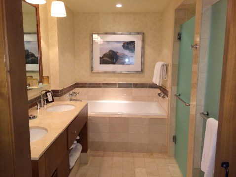 Bathroom at the Ritz Lake Tahoe.  Our daughter loved the tub!