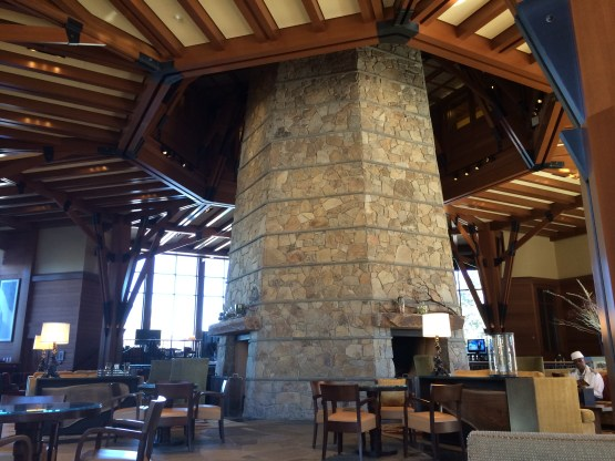 Lobby area and Living Room restaurant at the Ritz Lake Tahoe.