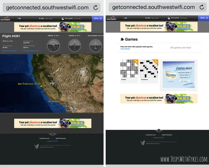 Southwest Airlines In-Flight Entertainment: Flight Tracker & Games