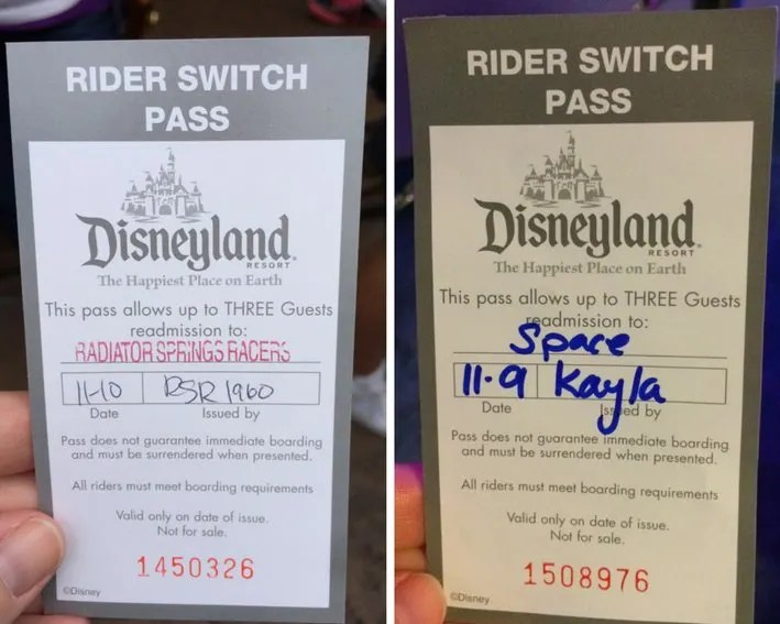 Disneyland Rider Switch Passes
