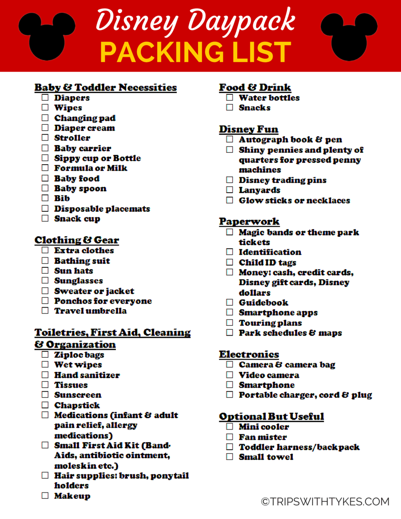 packing list for your disney daypack (free printable!) - trips with