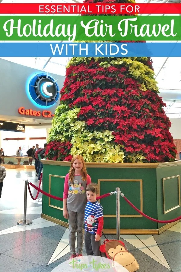 Flying with kids during the winter holidays? Essential family travel tips and secrets for air travel around Christmas and New Year's from a parent who has been on 200+ flights with kids. #familytravel #airtravel #holidaytravel #travelwithkids