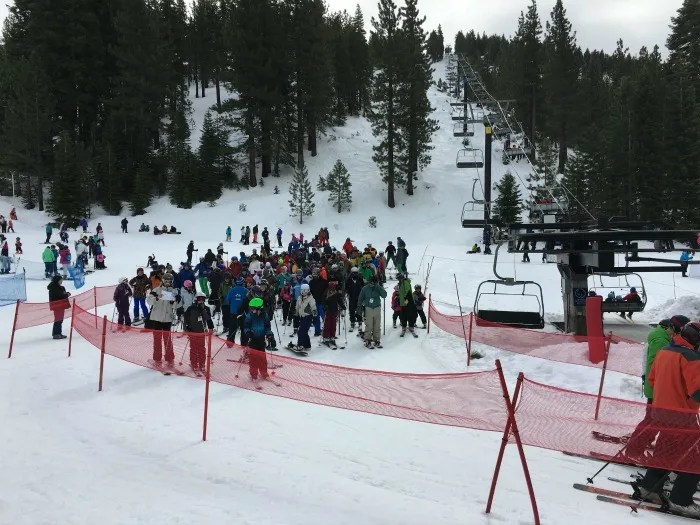 Skiing Diamond Peak with Kids - Lift Lines