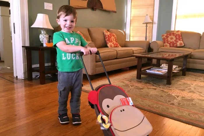 Trip with Toddler - Skip Hop Rolling Luggage