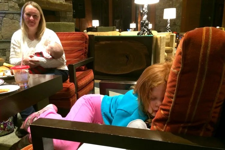 skiing-with-toddlers-and-preschoolers-asleep-at-dinner