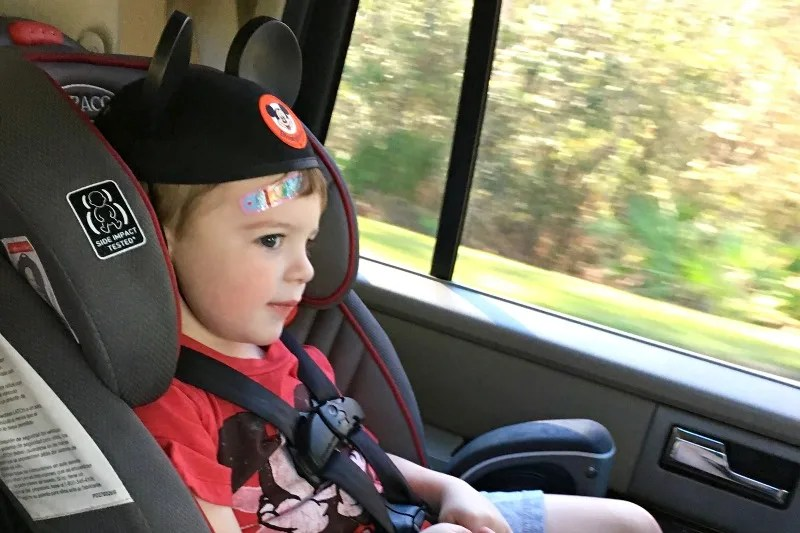 Uber Car Seat Orlando - Toddler in Seat Mickey Ears