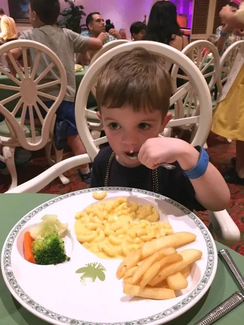 Disney Cruise Line with Toddlers and Preschoolers - Mac and Cheese Dinner at Tianas Place