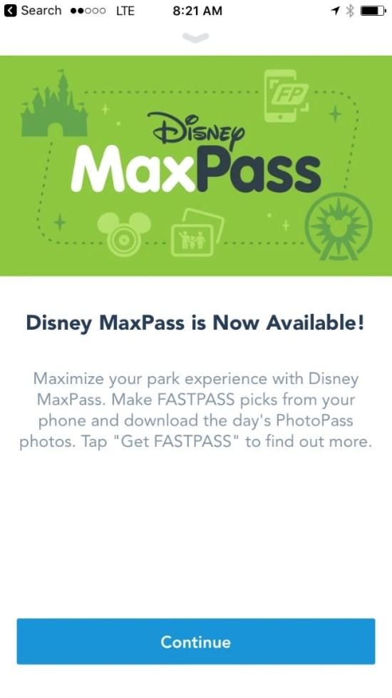 Disneyland Maxpass - Welcome Screen App
