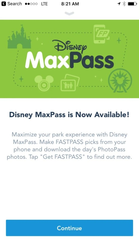 Disneyland Maxpass - Welcome Screen App