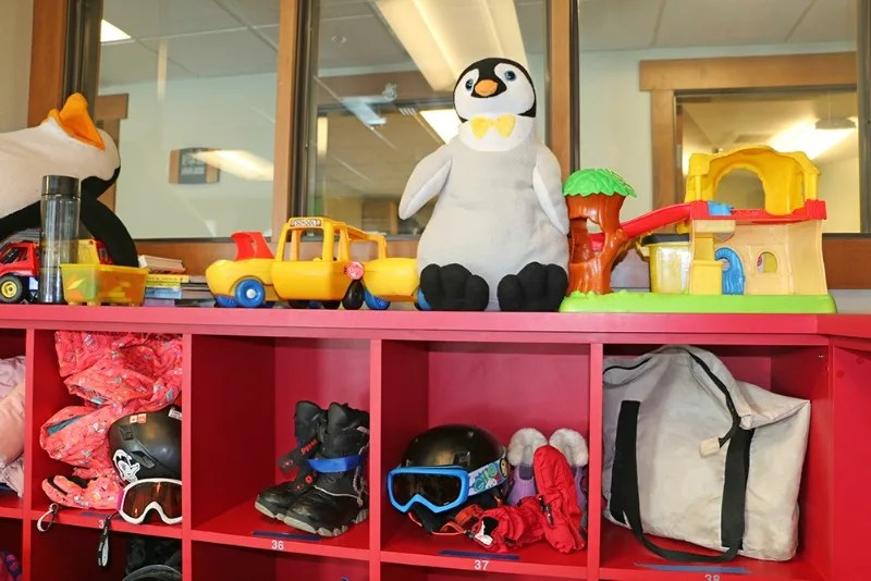 Cubbies at Diamond Peak's Child Ski Center to keep track of gloves and goggles.