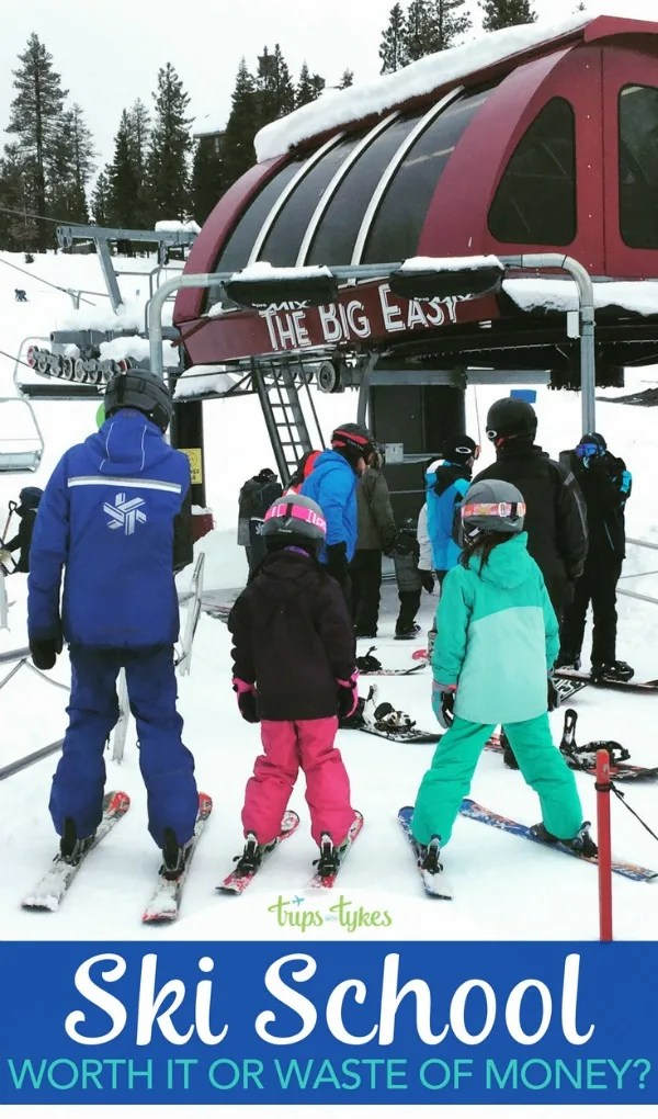 Should you put your kids kids in ski school on your family ski vacation? Find out why ski school is almost always worth the cost. Plus insider tips straight from ski instructors for your next ski trip! #skiing #skischool #familytravel #skiingwithkids