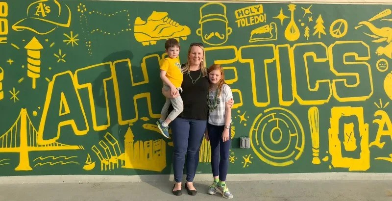 Oakland As Games with Kids - Wall Family Photo