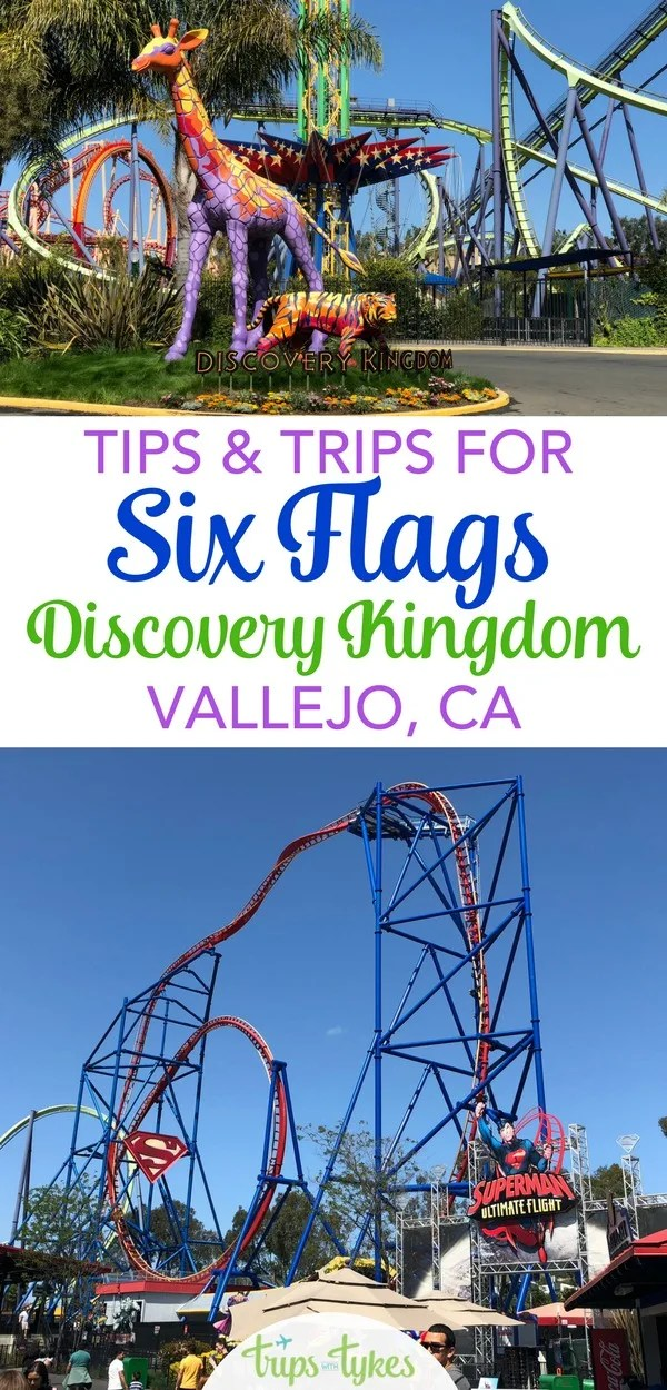 Theme park or thrill ride junkie? Top tips for a visit to Six Flags Discovery Kingdom, an amusement park in Vallejo, California in the San Francisco Bay Area. #sixflags #discoverykingdom #rollercoaster #amusementpark #visitcalifornia