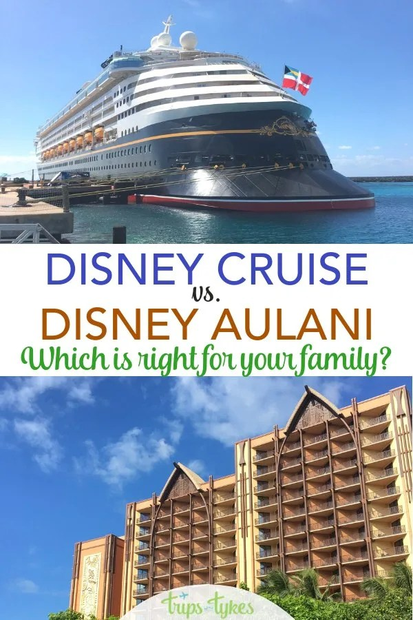 Disney Cruise Line vs. Disney Aulani - which vacation is right for your traveling family and when? A comparison of key differences, from kids clubs to cost. #DisneyCruiseLine #Aulani #Disney #DisneyAulani #DCL