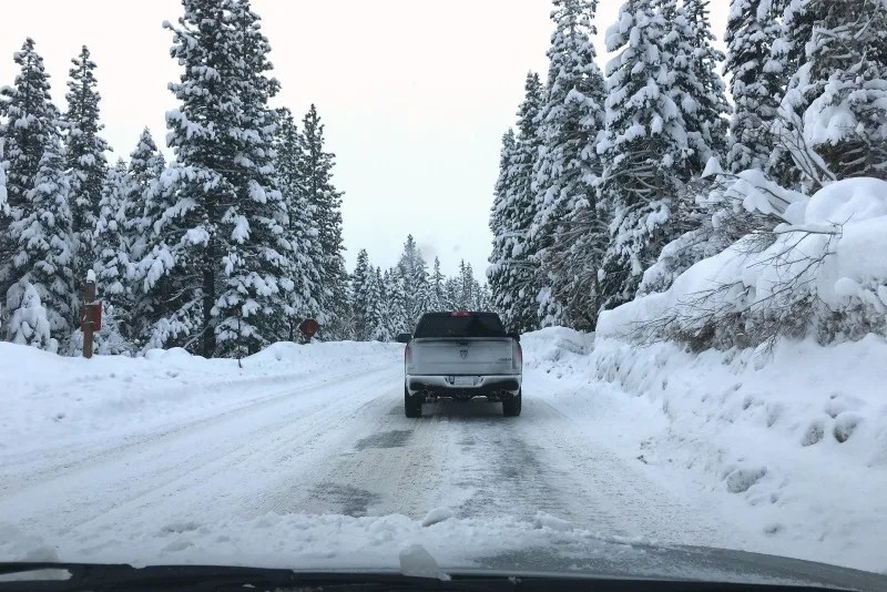 Winter Driving to Tahoe - Snow on Highway
