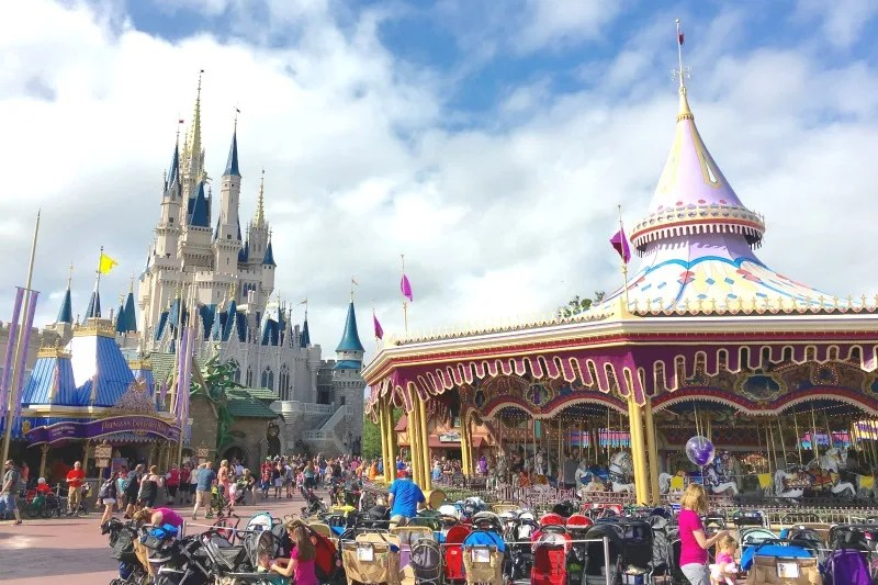 Strollers parked at Walt Disney World Magic Kingdom